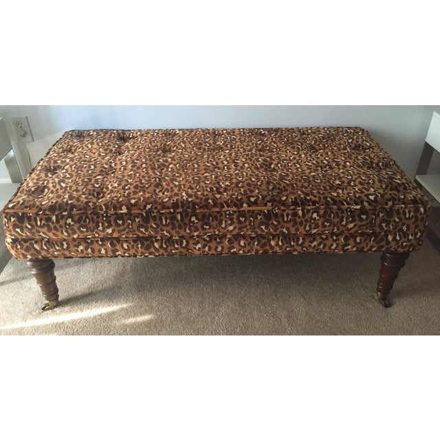 Leopard Upholstered Bench on Brass Casters - Image 2 of 8