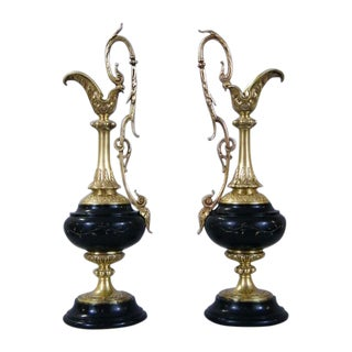 Brass & Marble French Ewers - A Pair