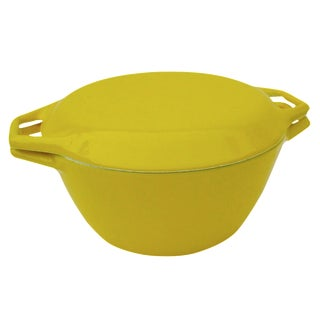 Yellow Danish Modern Enamel Casserole Pot