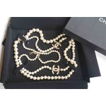 """Image of Authentic Chanel CC Pearl 60"""" Necklace"""