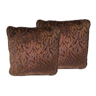 Weitzner Nomad Copper & Navy Cut Velvet Designer Pillows - a Pair