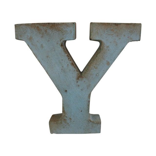 Image of Vintage Rustic Metal Letter: Y