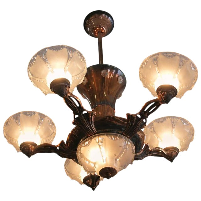 Copper Art Deco Style Chandelier With Frosted Glass Shades Image 1 Of 7