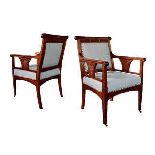 Rare Pair of French Art Nouveau Carved Mahogany Armchairs