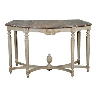 Monumental French Painted Console Demi-Lune Table
