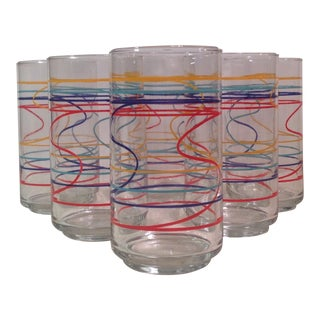 Mid-Century Modern Multicolored Glasses - Set of 6