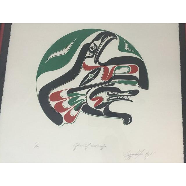 Vintage Greg Colfax Eagle & Wolf Drum Design Print - Image 3 of 7