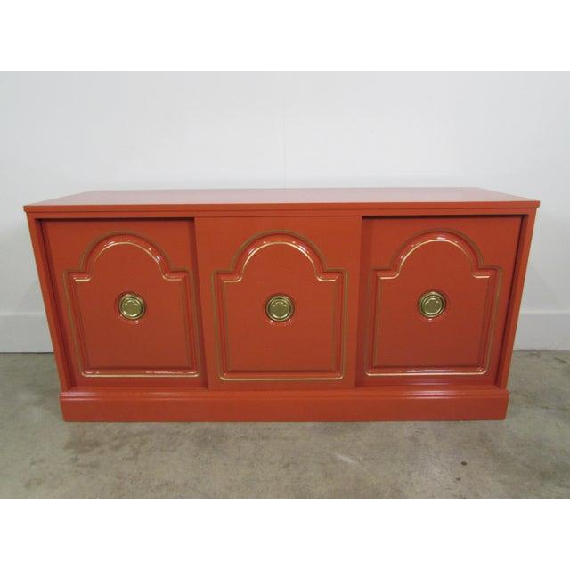 Dorthy Draper Style Persimmon Orange Media Cabinet - Image 8 of 8