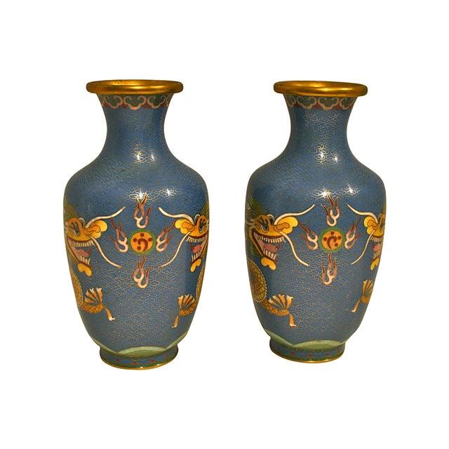 Blue Cloisonne Dragon Vases - A Pair - Image 2 of 5