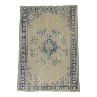 "Vintage Beige Navy Blue Turkish Oushak Rug - 87"" x 124"""