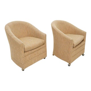 1970 Mid-Century Tan Tweed Barrel Back Lounge Chairs - A Pair