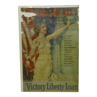 """1917 Vintage """"American's All"""" Victory Liberty Loan World War I Poster"""
