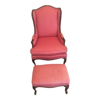 Vintage French Style Wing Chair & Ottoman - A Pair