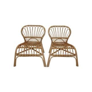 Franco Albini Style Rattan Bamboo Chairs - Pair