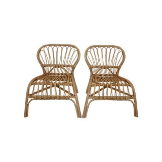 Franco Albini Style Rattan Bamboo Chairs - Pair