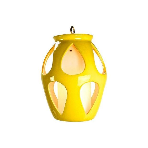 Image of Mid-Century Modern Yellow Ceramic Pendant