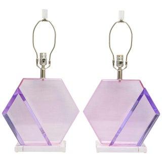 Van Teal Lavender & Fuchsia Lucite Lamps - Pair
