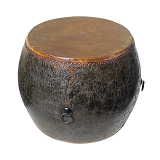 Chinese Distressed Black Lacquer Drum Table