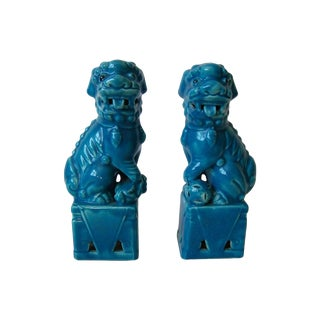 Vintage Blue Foo Dogs - A Pair