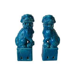 Vintage Blue Foo Dogs - A Pair