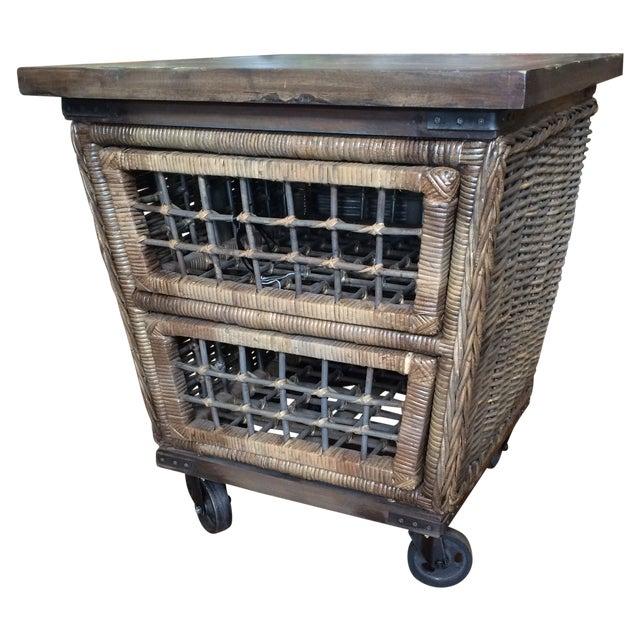 Image of Wicker Moveable Bedside Table