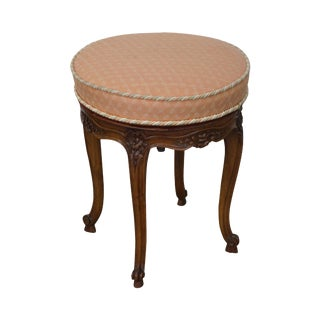 French Louis XV Walnut Round Revolving Stool