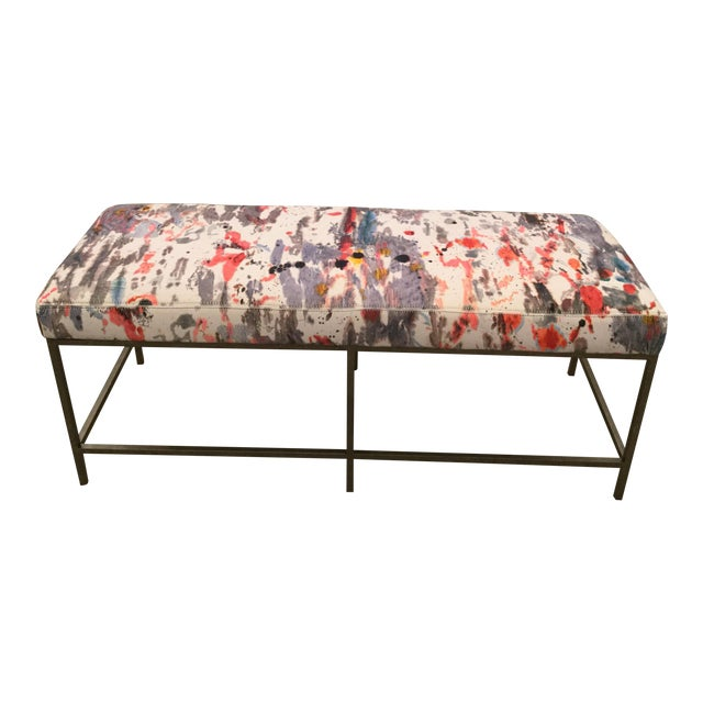 Custom Upholstered Bench in Holly Hunt Modern Fabric With Metal Frame - Image 1 of 5