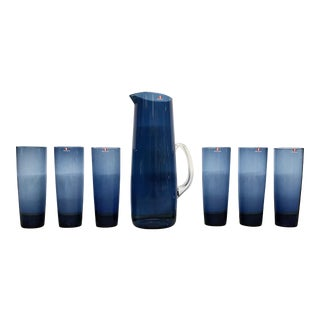Vintage Timo Sarpaneva for Iittala Blue Pitcher and Glass Set of 7