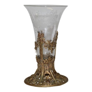 19th Century French Ormolu Metal Etched Glass