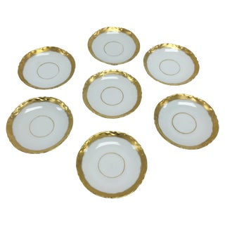Antique Gold & White Bavaria Saucers - Set of 7