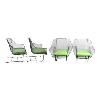 Set of Four Woodard Cantilever Spring Base Chairs in Original Finish