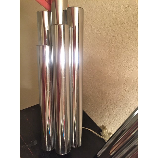 Image of Tubular Chrome Table Lamps - A Pair