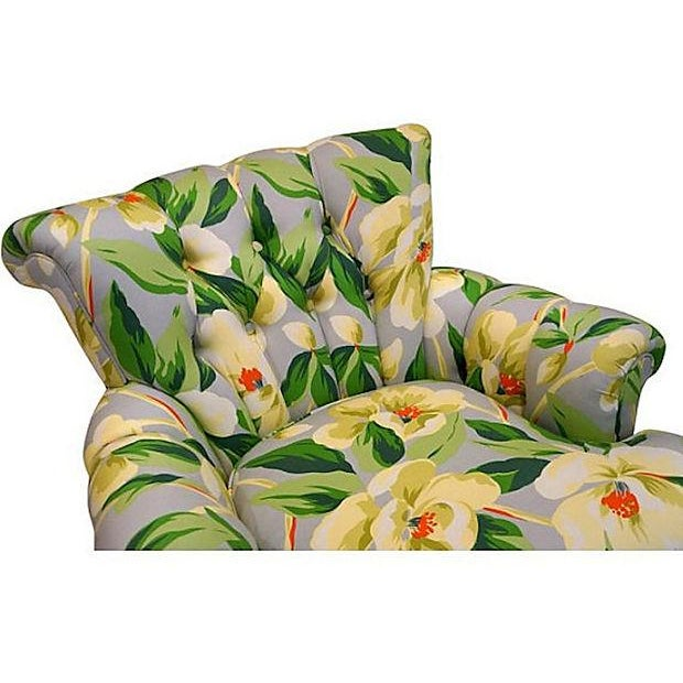 Vintage 1940s Magnolia Print Armchairs - A Pair - Image 4 of 5