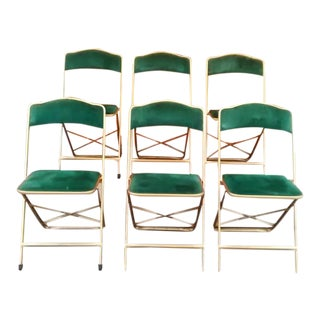 Vintage A. Fritz & Co. Green Velvet Folding Chairs - Set of 6
