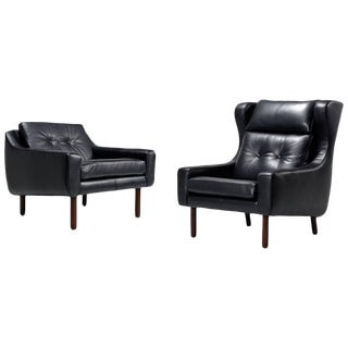 Leather Borge Mogensen Style Chairs - A Pair