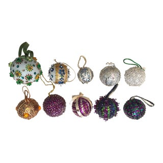 Vintage Beaded Hand Made Christmas Ornaments - Set of 10