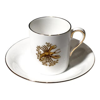 Tuscan English China Gold Lobster Demitasse Cup & Saucer