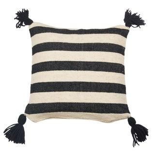 Mexican Black & White Stripe Wool Throw Pillow