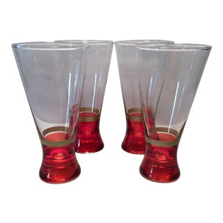 Vintage Red & Gold Pilsner Glasses - Set of 4