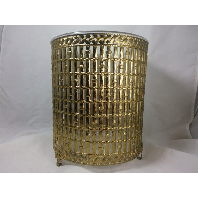 Gold Filigree Chinoiserie Faux Bamboo Waste Basket - Image 2 of 8