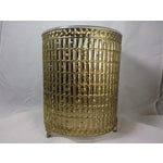Image of Gold Filigree Chinoiserie Faux Bamboo Waste Basket