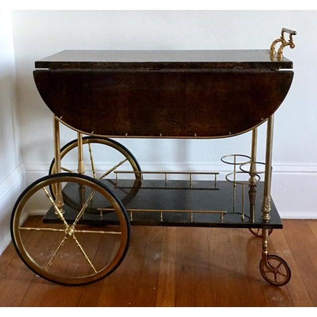Aldo Tura Goatskin Bar Cart - Image 3 of 7