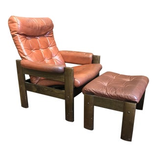 Ekornes Norway Leather Recliner With Ottoman - A Pair