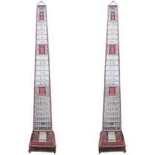 Large, Beaded, Italian Obelisk Floor Lamps