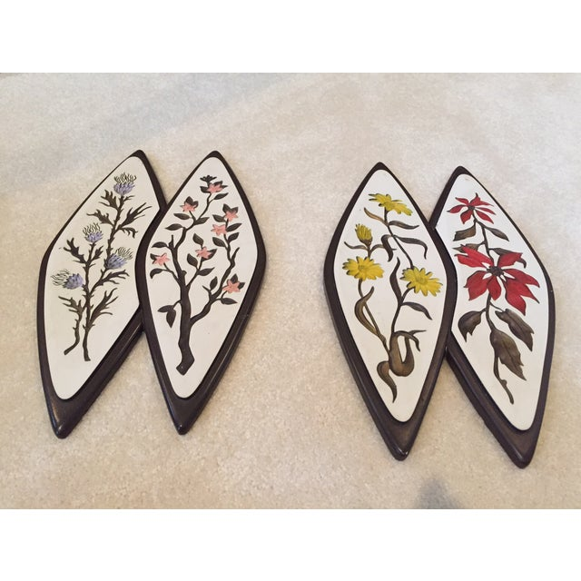 Atomic-Style Floral Wall Plaques - Set of 2 - Image 3 of 8