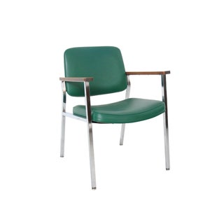 Vintage Mid-Century Industrial Green Vinyl Arm Chair