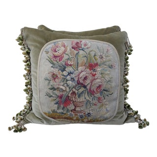 Green Velvet Floral Aubusson Pillows - A Pair