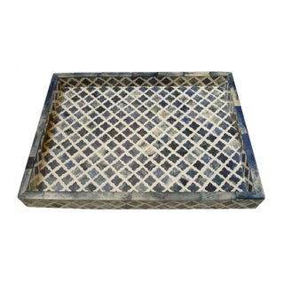 Moroccan Pattern Inlaid Bone Blue Tray