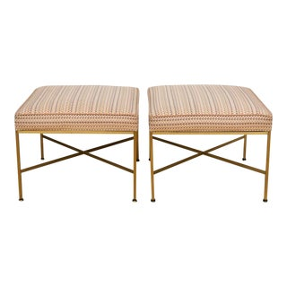 Paul McCobb Brass Ottomans With Original Fabric - A Pair