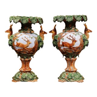 19th Century French Painted Barbotine Vases with Deer, Grapes and Vines - A Pair